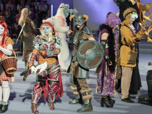 Brno, Czech Republic - April 30, 2016: Group of cosplayers pose during cosplay contest  at Animefest, anime convention on April 30, 2016 Brno, Czech Republic